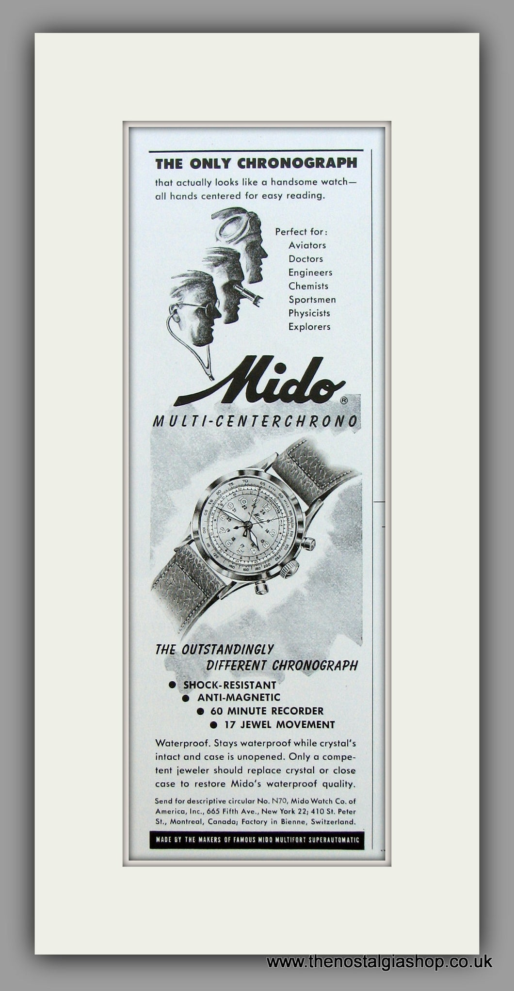 Mido Multi-Centerchrono Watches. 1950 Original Vintage Advert  (ref AD7938)
