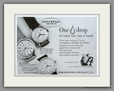 Universal Geneve Watches. 1950 Original Vintage Advert  (ref AD7939)