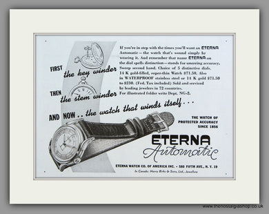 Eterna Automatic Watches. 1948 Original Vintage Advert  (ref AD7940)