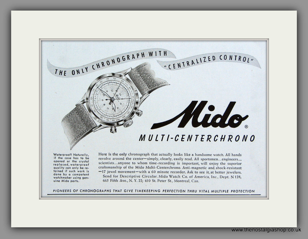 Mido Multi-Centerchrono Watches. 1948 Original Vintage Advert  (ref AD7941)