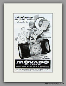 Movado Calendermeto Clocks. 1950 Original Vintage Advert  (ref AD7942)