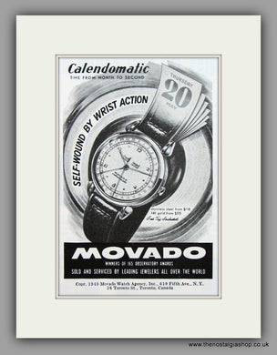 Movado Calendomatic Watches. 1948 Original Vintage Advert  (ref AD7944)