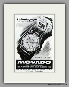 Movado Calendograph Watches. 1948 Original Vintage Advert  (ref AD7945)