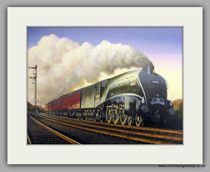 A4 Pacific Gannet No.60032 on The Elizabethan. Mounted Railway Print (ref N118)