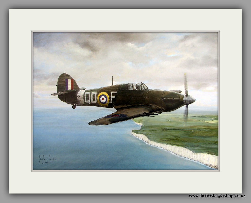 Hurricanes Relief. Mounted Aircraft print (ref N134)