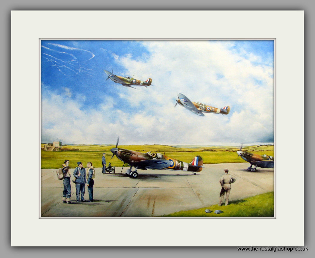 Spitfires Battle of Britain 1940. Mounted Aircraft print (ref N160)