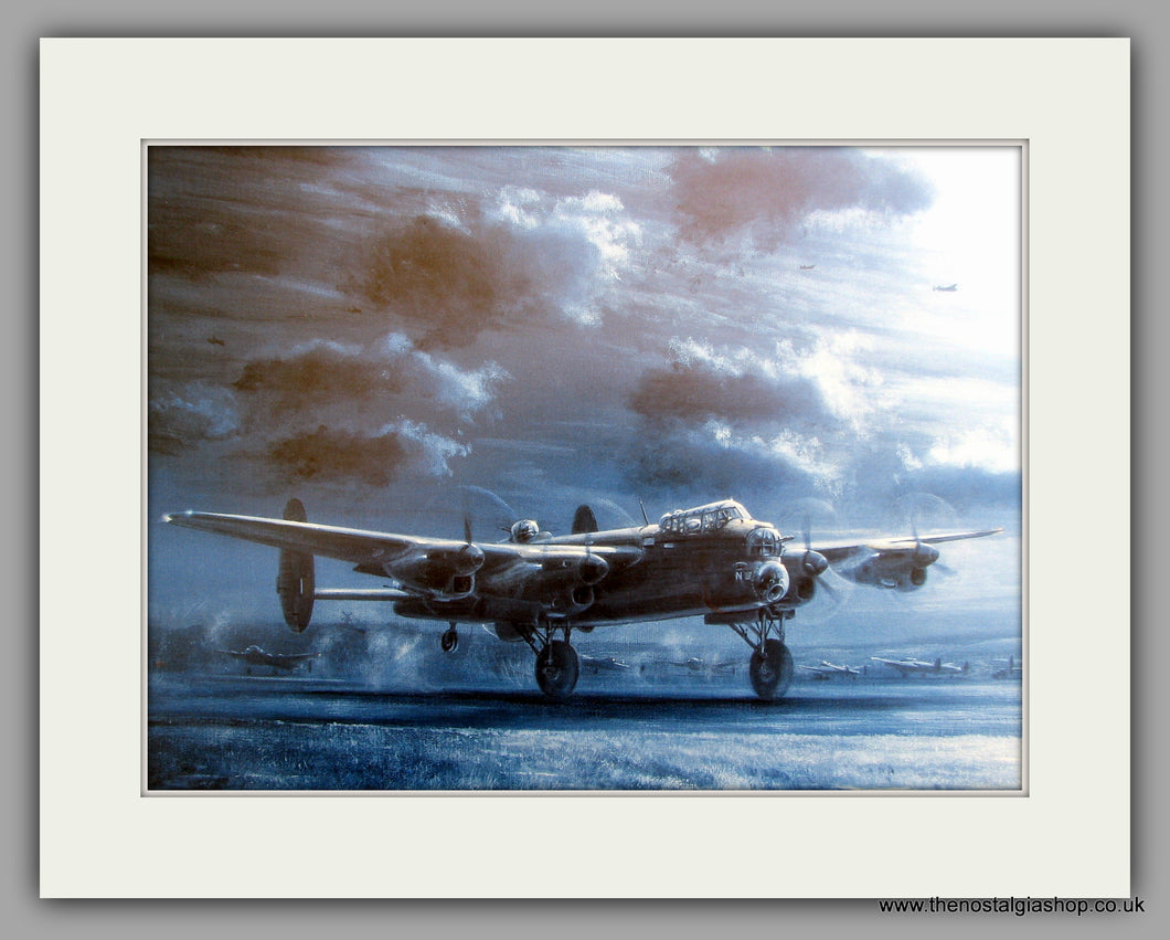 Lancasters by Moonlight. Mounted Aircraft print (ref N163)