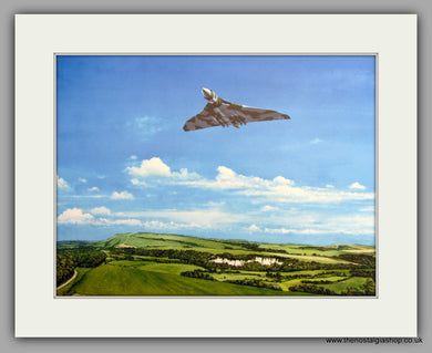 Vulcan Bomber Flying Low. Mounted Aircraft print (ref N164)