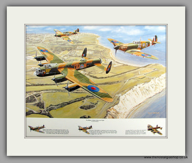Battle of Britain Memorial Flight. Mounted Aircraft print (ref N139)