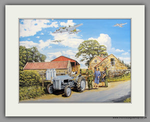 Ferguson Tractor with B17 US Bombers Overhead Mounted Print 'Over Here' (ref N128)