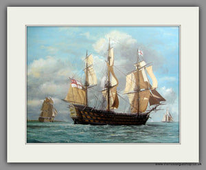 H.M.S. Victory at sea, Large Mounted Art print (ref N140)