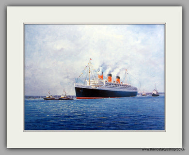 Queen Mary ship Large Mounted Art print (ref N81)