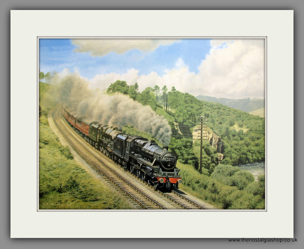 Stanier Black 5 and Royal Scot Class. Mounted Railway Print (ref N9)