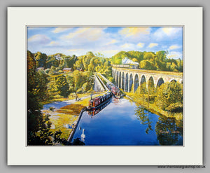 Aqueduct & Viaduct, Mounted Canal and Railway Print (ref N94)
