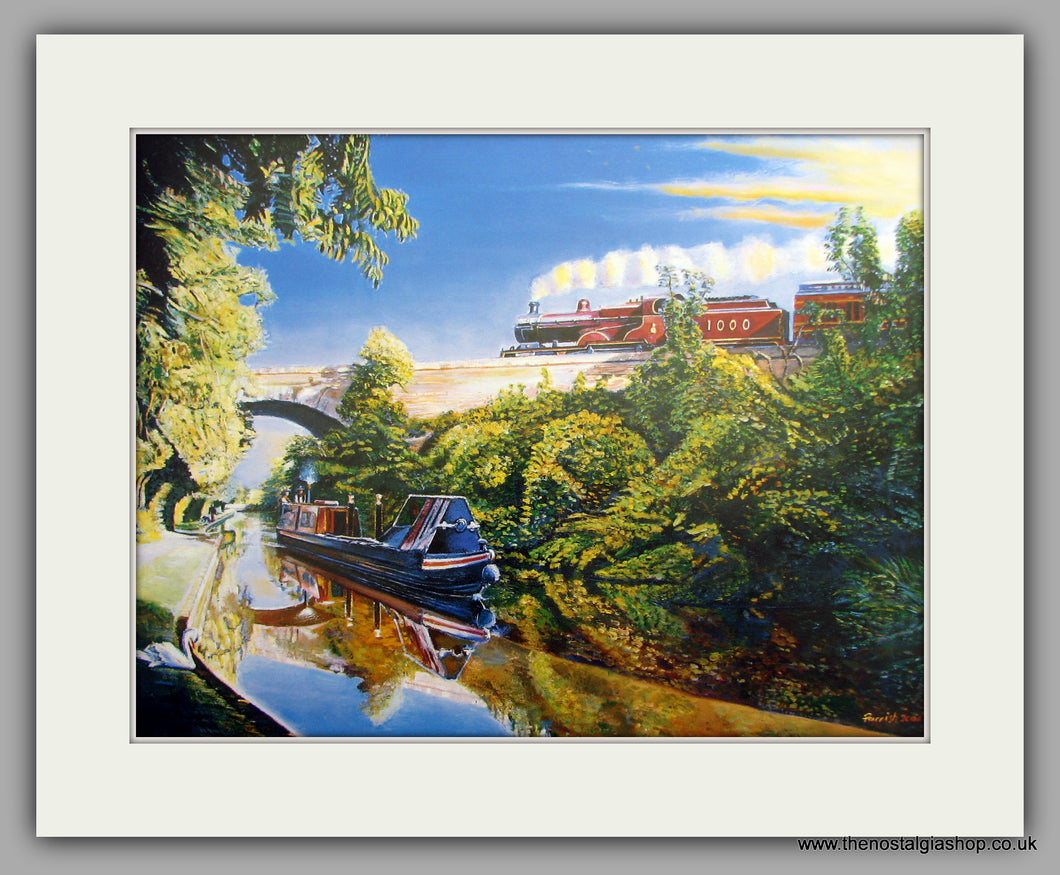 Canal Freight. Mounted Canal and Railway Print (ref N95)