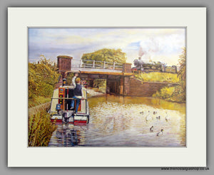 Canal Crossing, Mounted Canal and Railway Print (ref N92)