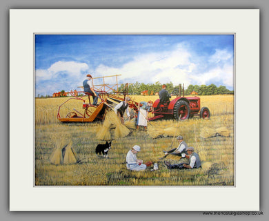 Tractor and a Picnic. Mounted Tractor print (ref N96)