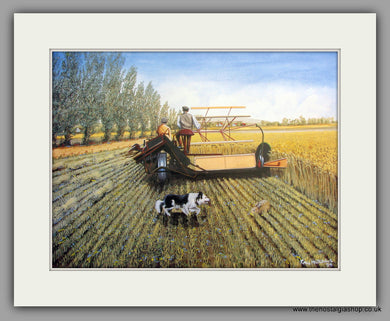 Tractor ploughing. Watch Out. Mounted Tractor print (ref N97)