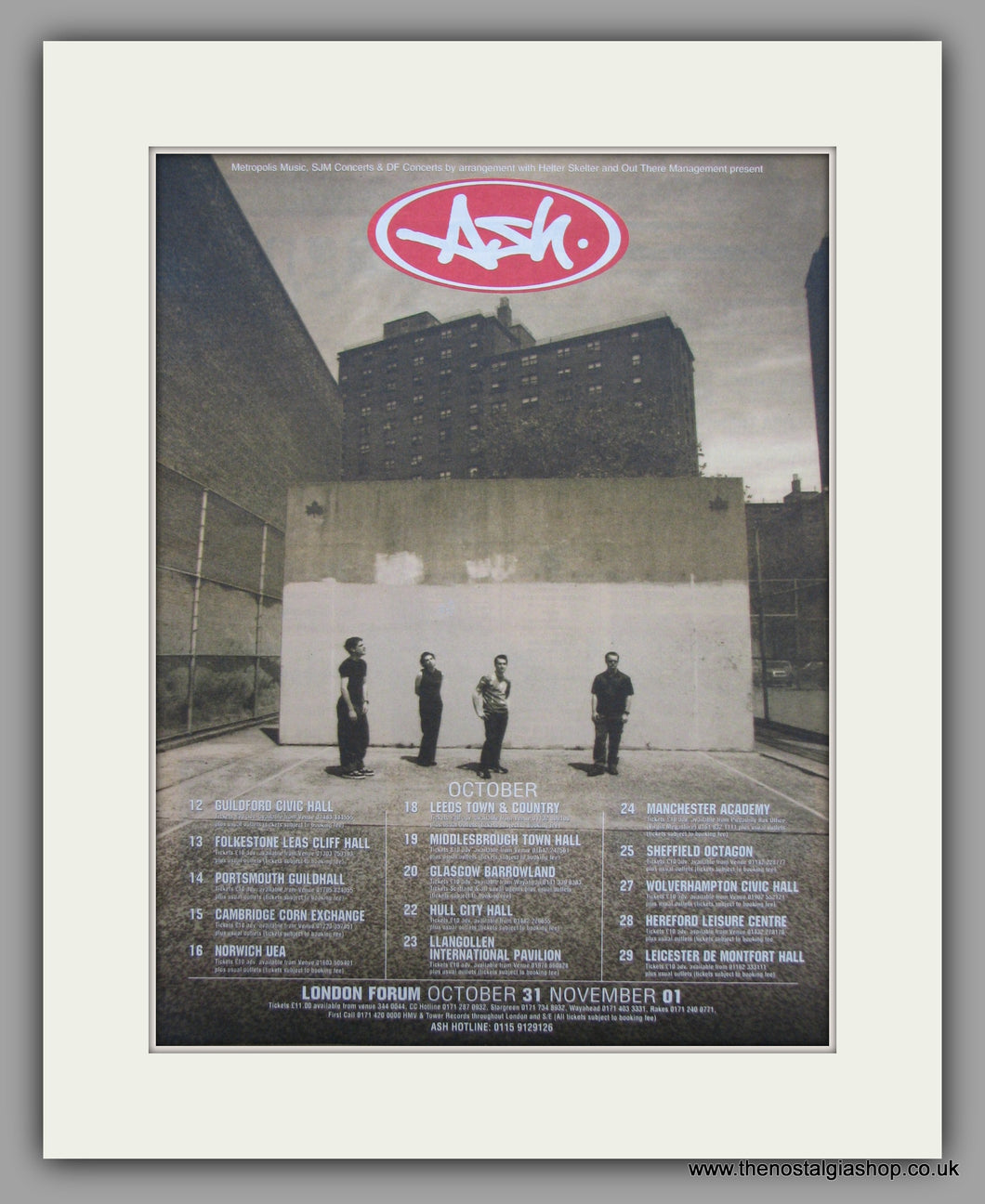 Ash Tour Dates.  Original Vintage Advert 1998 (ref AD10581)