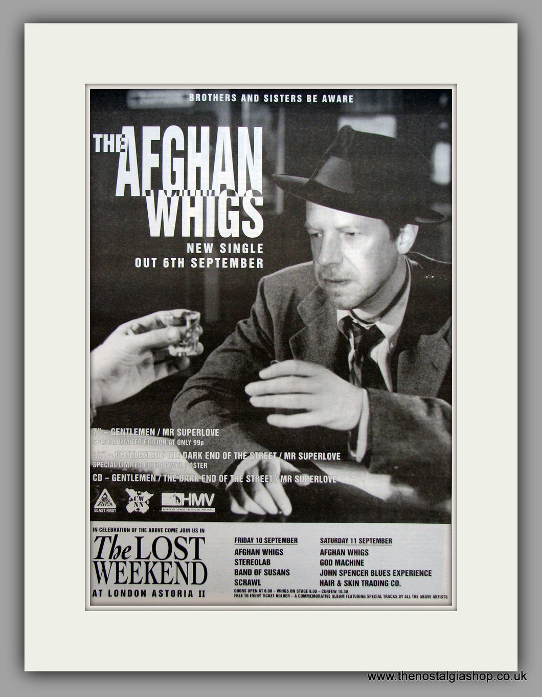 Afghan Whigs (The) The Lost Weekend At London Astoria II.  Original Vintage Advert 1993 (ref AD10588)