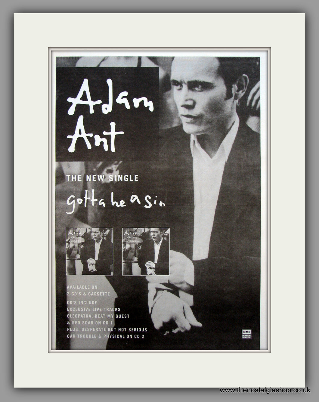 Adam Ant-Gotta Be A Sin.  Original Vintage Advert 1995 (ref AD10598)