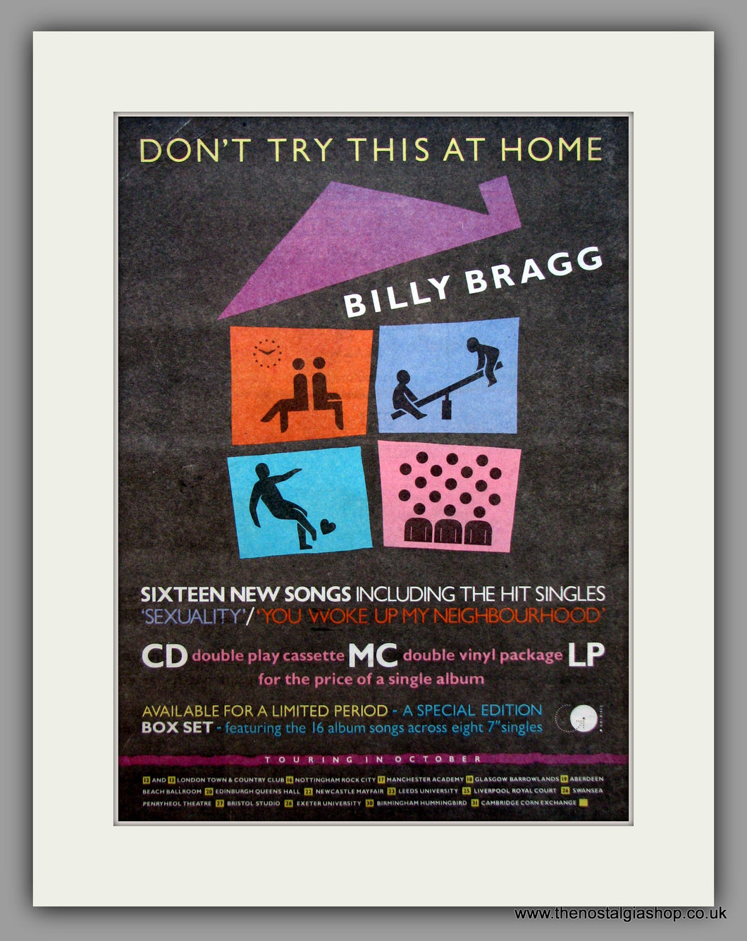 Billy Bragg. Don't Try This At Home.  Original Vintage Advert 1991 (ref AD10619)