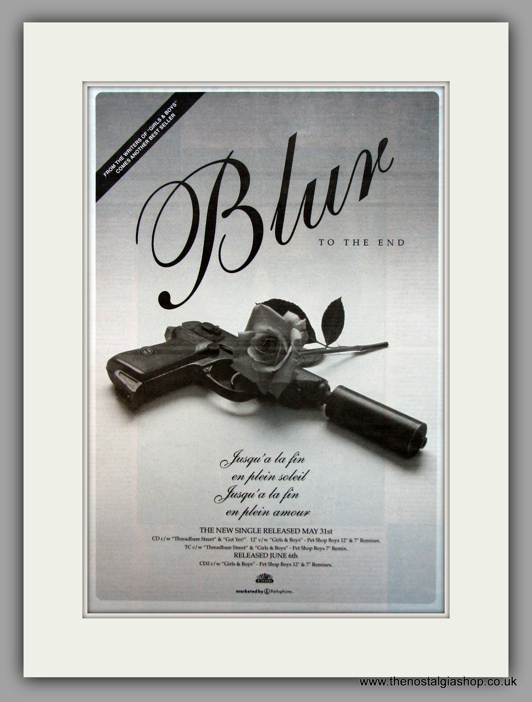 Blur-To The End. Original Vintage Advert 1994 (ref AD10647)
