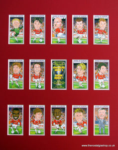 Manchester United 1999. Champions League Winners. Mounted Football Card Set.