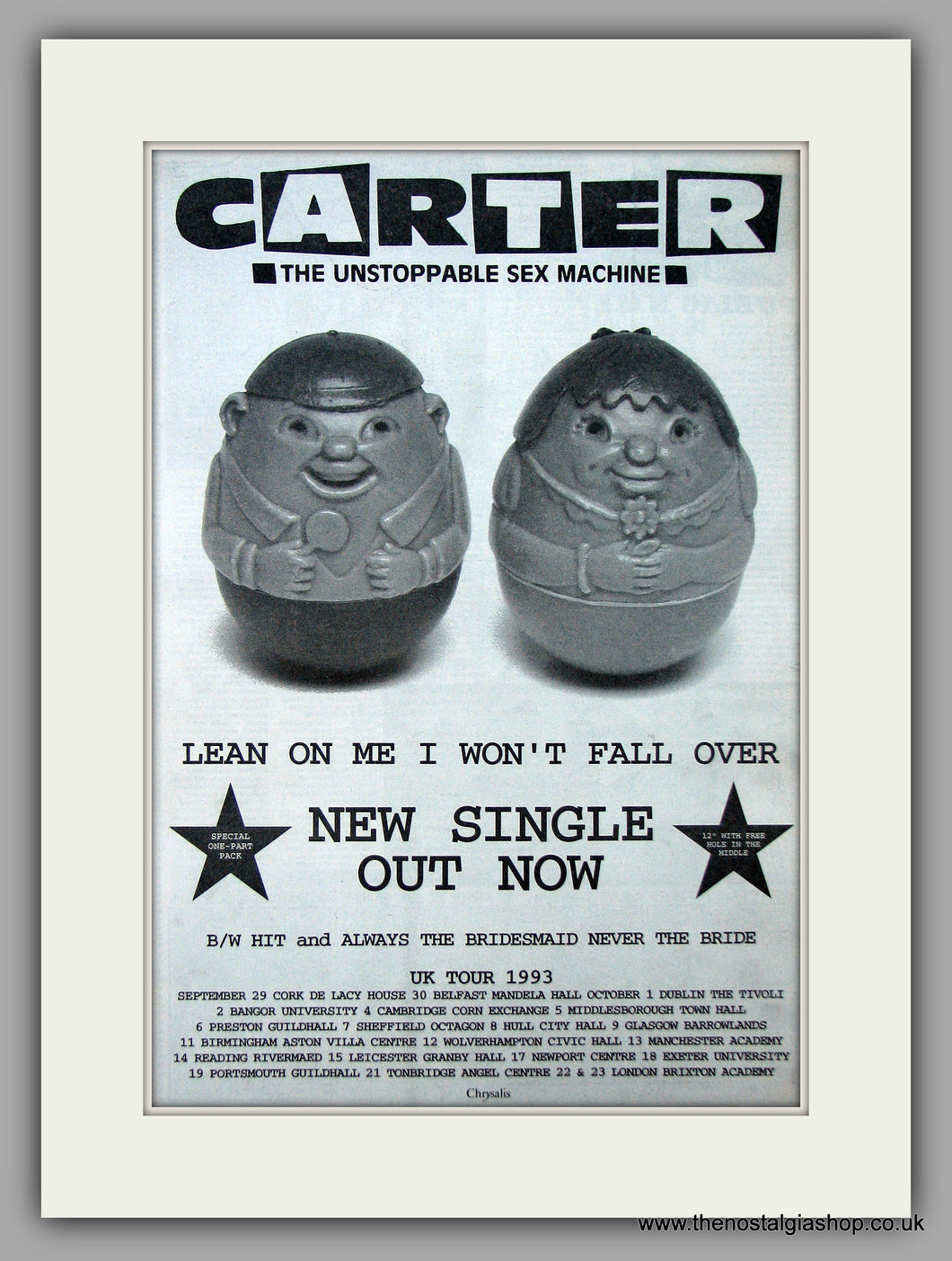 Carter - Lean On Me I Won't Fall Over.  Original Vintage Advert 1993 (ref AD10682)