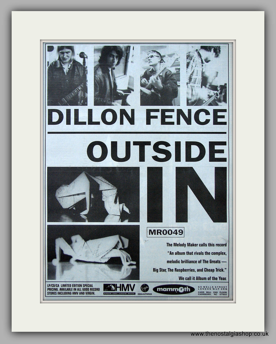Dillon Fence - Outside In.  Original Vintage Advert 1993 (ref AD10713)