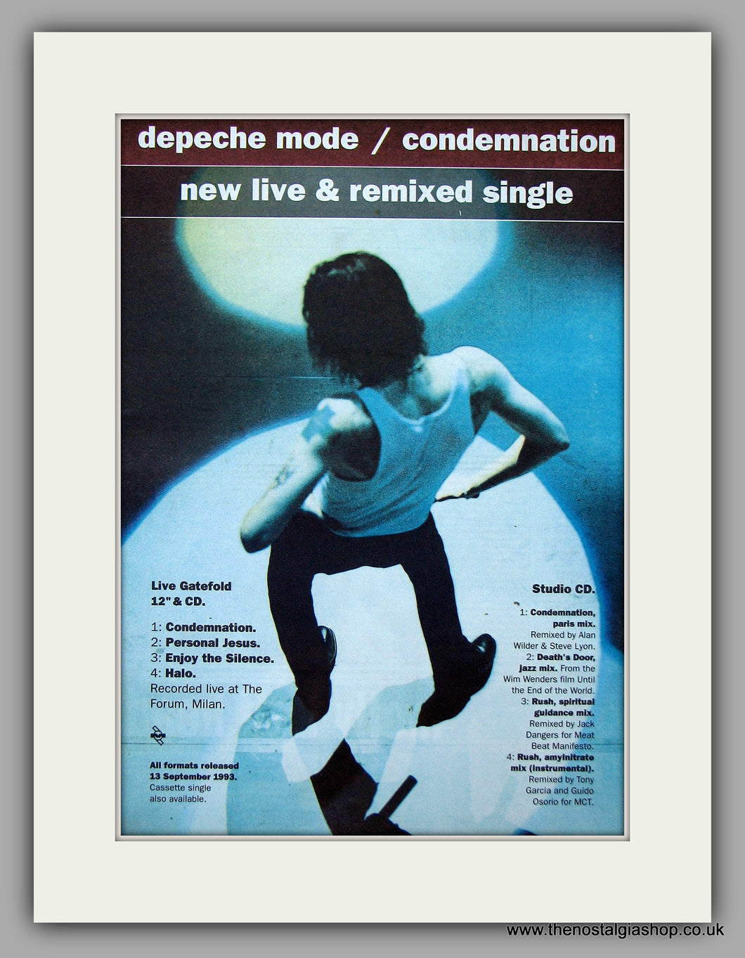 Depeche Mode - Condemnation.  Original Vintage Advert 1993 (ref AD10722)