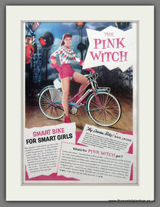 Pink Witch Bicycle. Original Advert 1958 (ref AD55296)