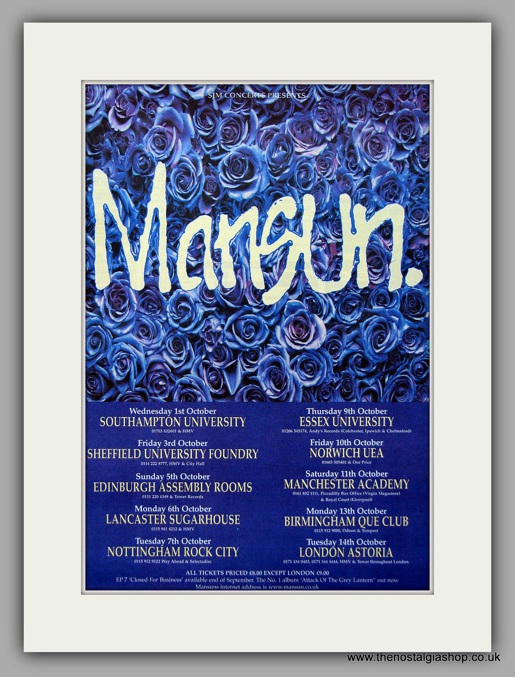 Mansun - Tour Dates. Original Vintage Advert 1997 (ref AD10897)
