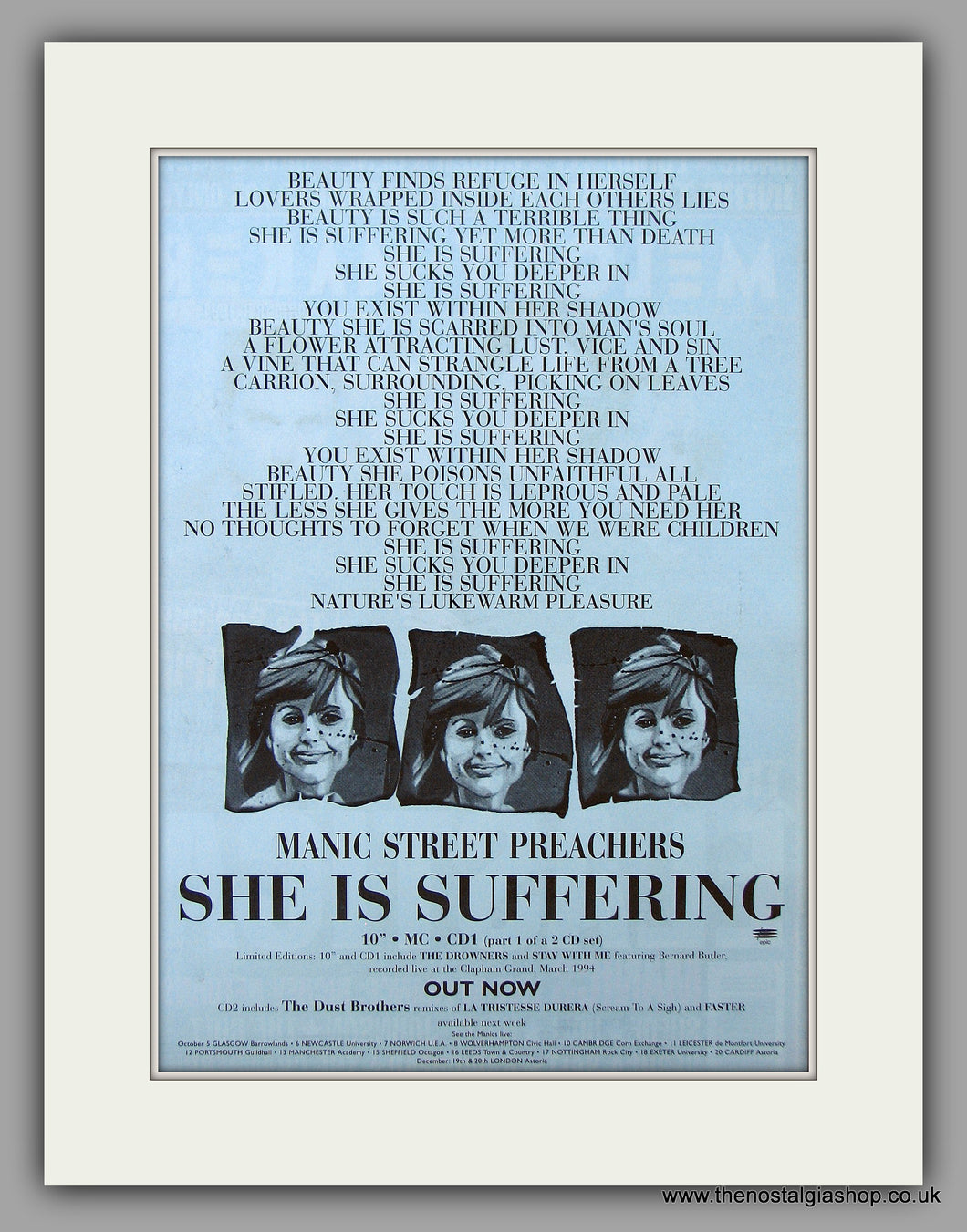 Manic Street Preachers - She Is Suffering. Original Vintage Advert 1994 (ref AD10904)