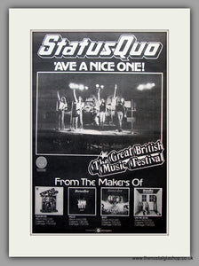 Status Quo. 'Ave A Nice One! Original Vintage Advert 1976 (ref AD10777)