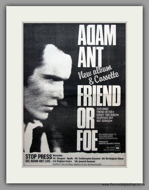 Adam Ant. Friend or Foe. Original Vintage Advert 1982 (ref AD10915)