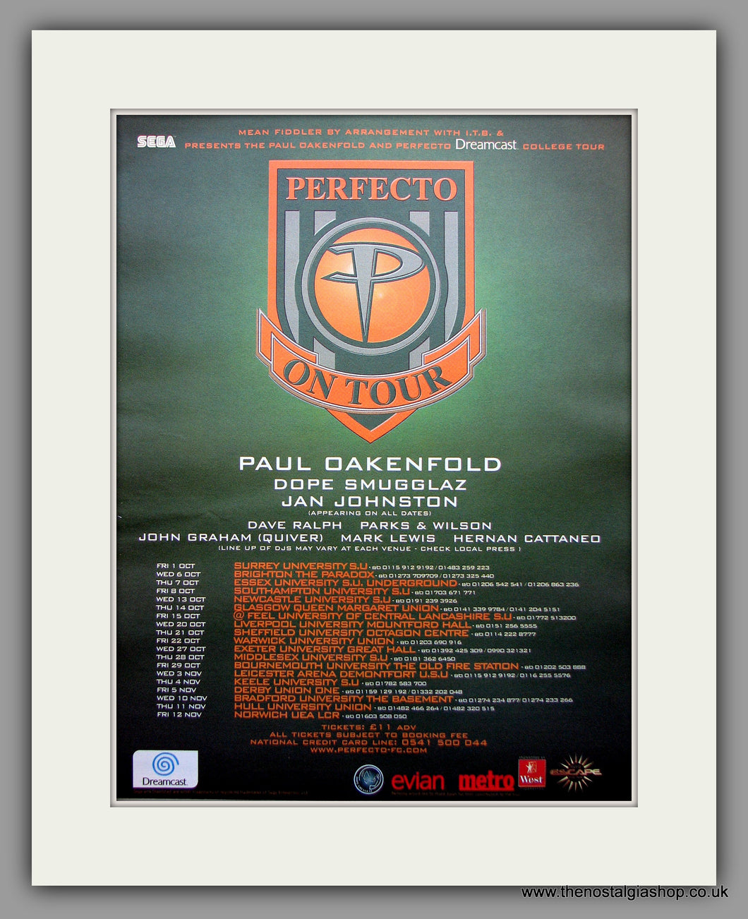 Perfecto On Tour - Tour Dates. Original Vintage Advert 1999 (ref AD10982)
