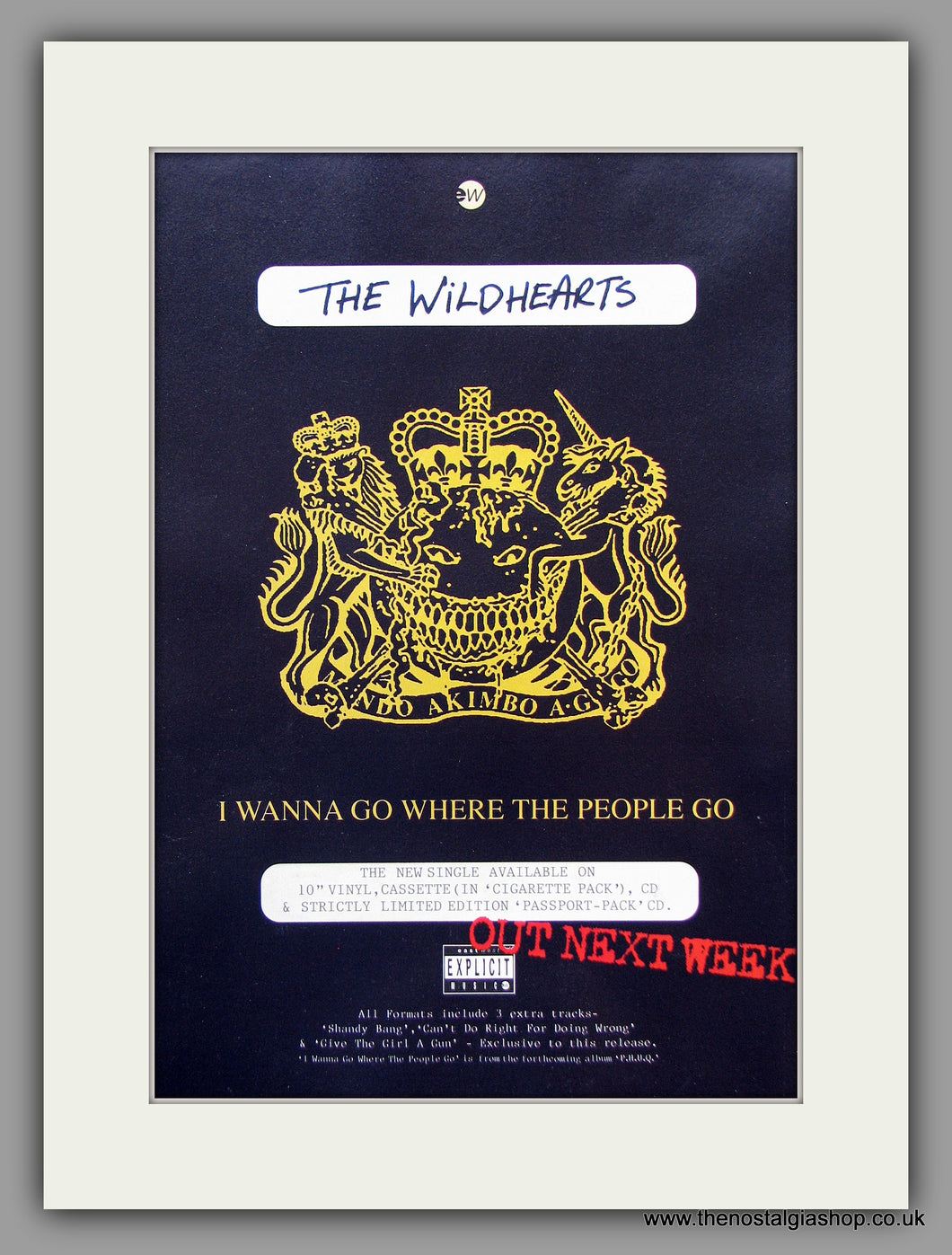 Wildhearts (The) I Wanna Go Where The People Go. 1995 Original Advert (ref AD7947)
