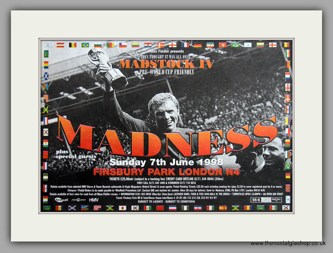Madness at Finsbury Park 1998. Madstock Festival. Original Advert (ref AD7962)