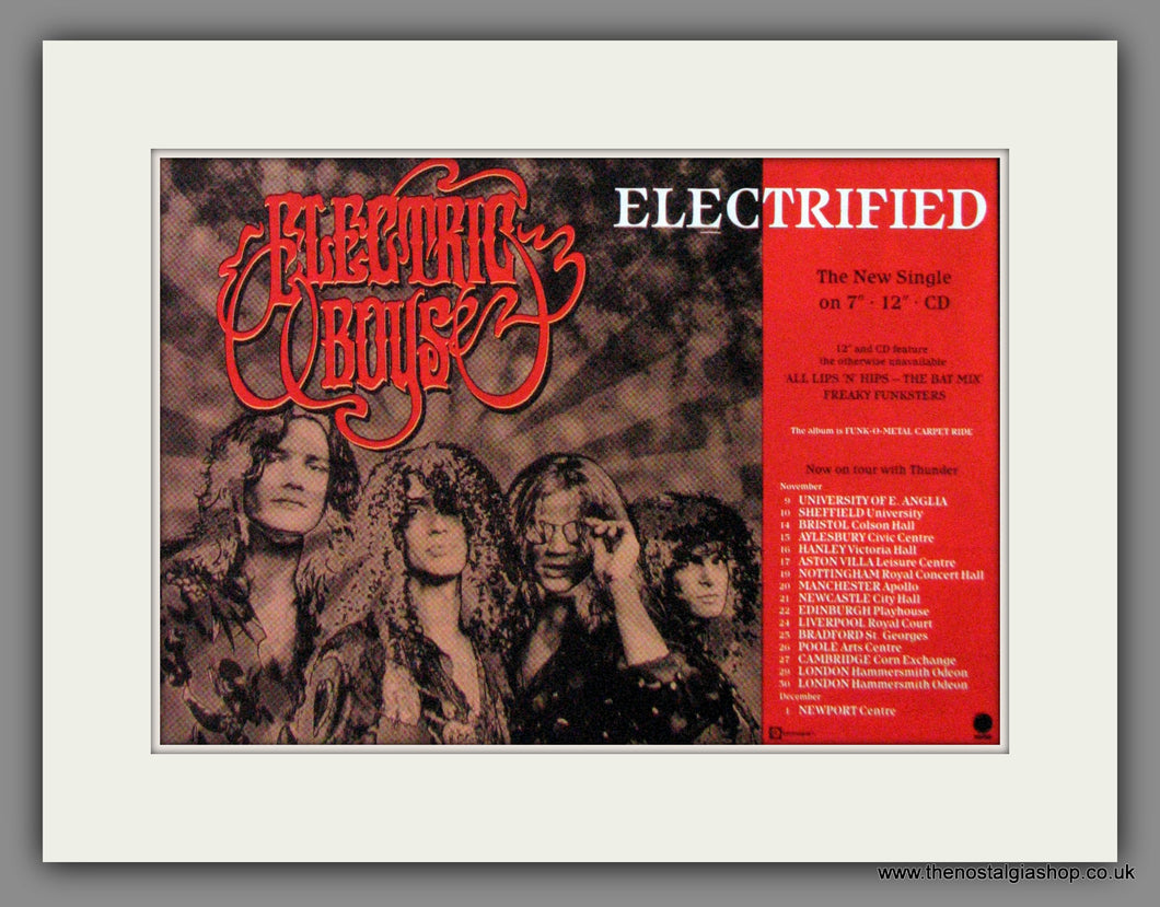 Electric Boys, Electrified, Tour Dates. Original Advert 1990 (ref AD50242)