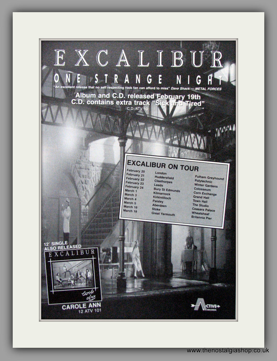 Excalibur - One Strange Night Plus Tour Dates. Original Advert 1990 (ref AD50250)