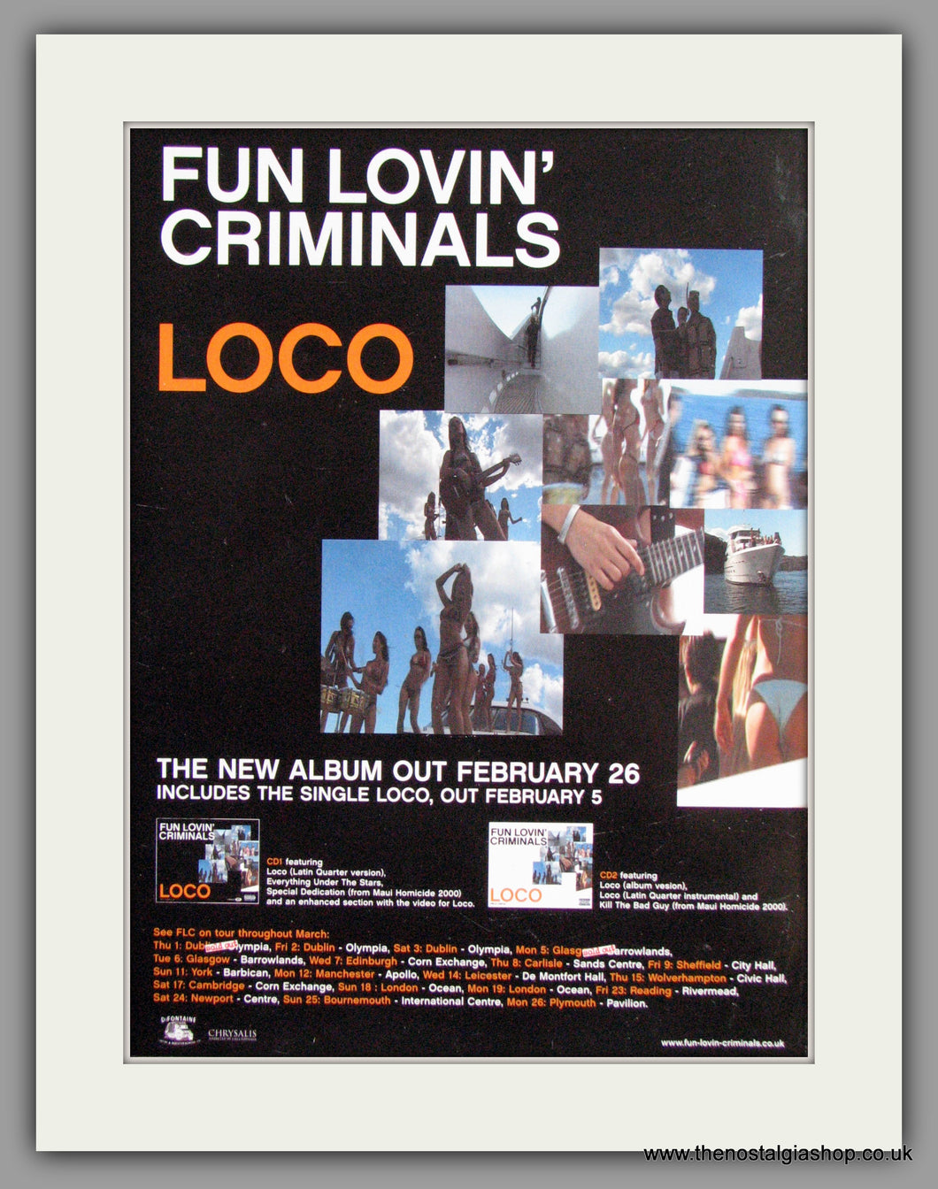 Fun Lovin' Criminals - Loco+Tour Dates. Original Advert 2001 (ref AD50278)