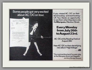 AC DC at The Marquee, Wardour Street. Vintage Advert 1976 (ref AD50346)
