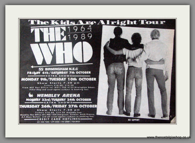 The Who. The Kids Are Alright Tour. Vintage Advert 1989 (ref AD50356)