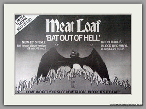 Meat Loaf Bat Out Of Hell.  Vintage Advert 1979 (ref AD50417)