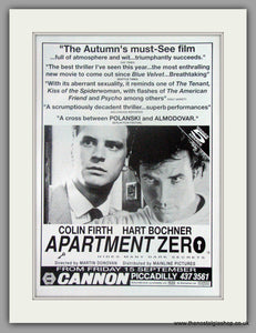 Apartment Zero. Original advert 1989 (ref AD50492)