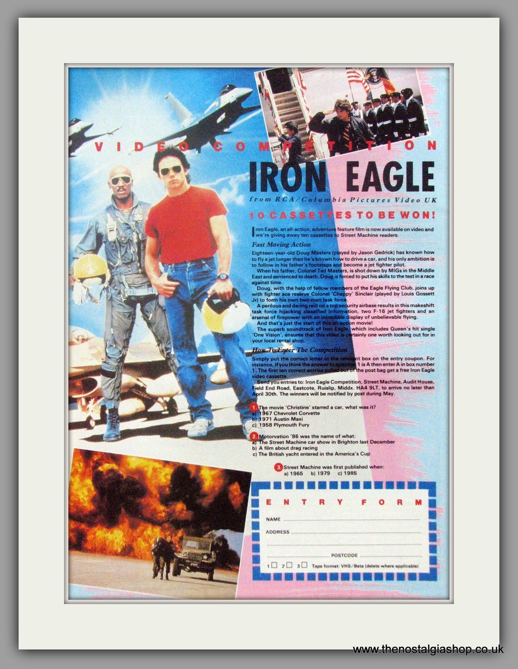 Iron Eagle Video Competition. Original Advert 1987 (ref AD50904)