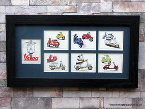 Vespa Scooters. Framed Card Set.