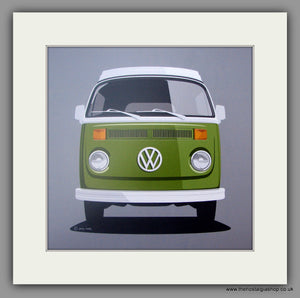 VW Camper. Bay Window. Mounted print.