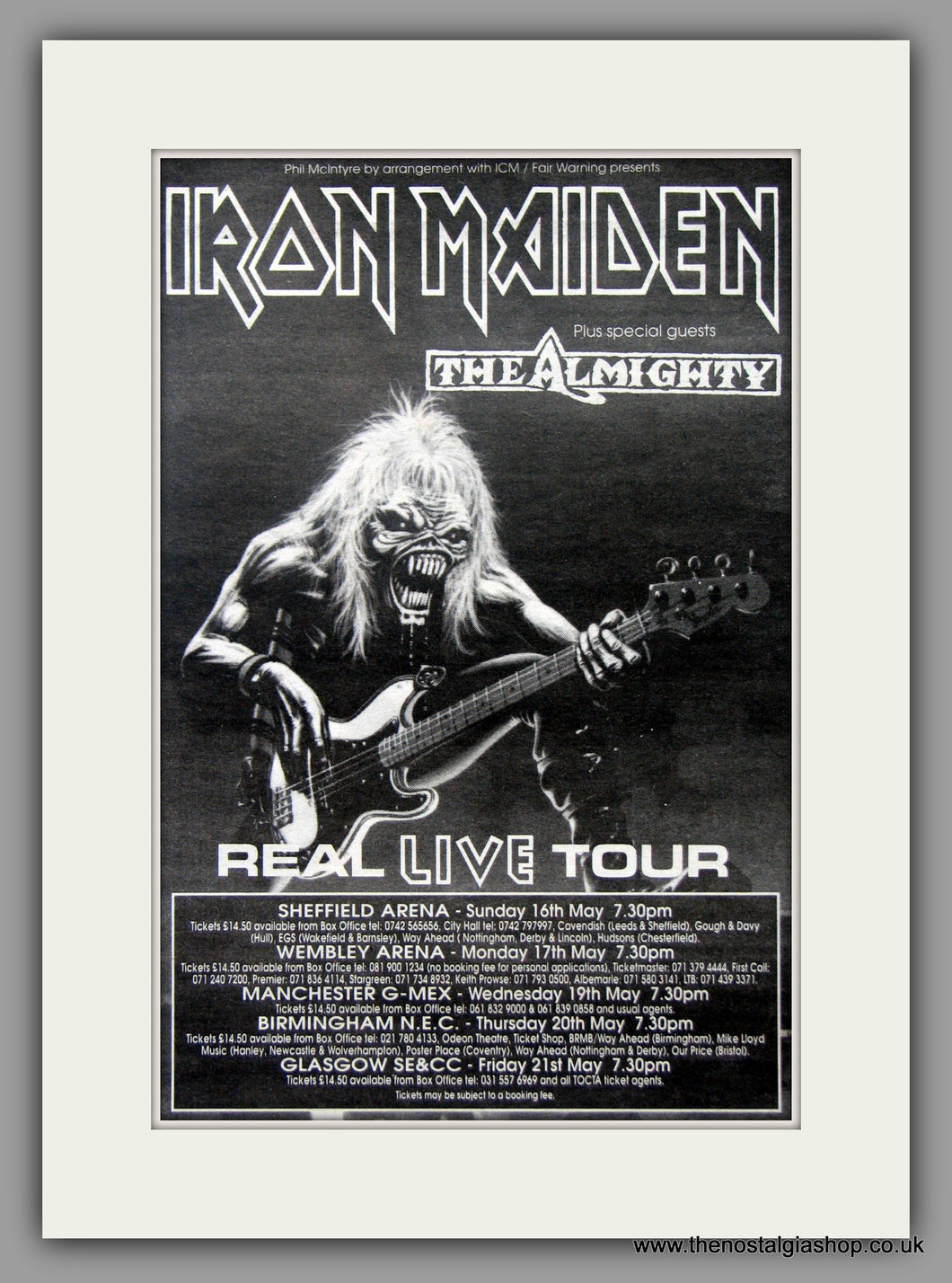 Iron Maiden. Real Live Tour 1993 Original Advert (ref AD51081)